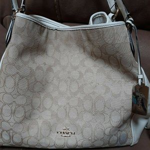 Coach Handbag White and Tan